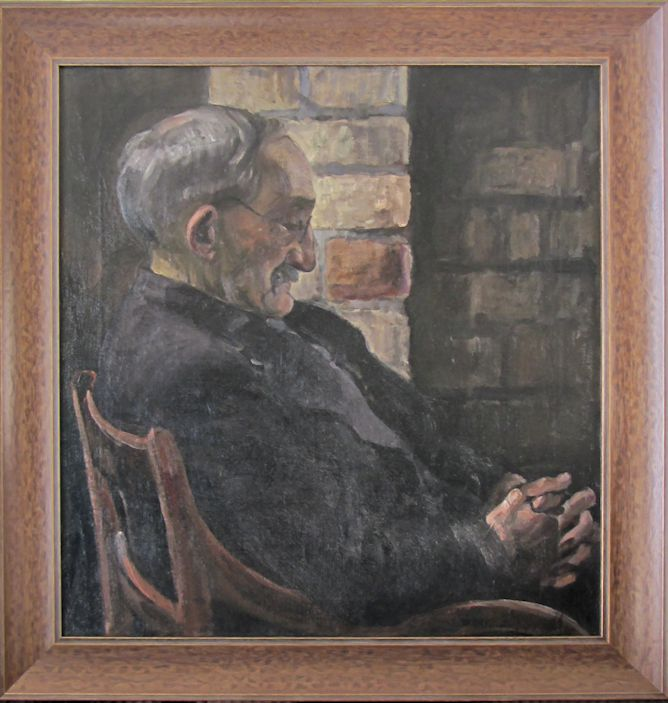 Oil portrait of older man dozing in a chair