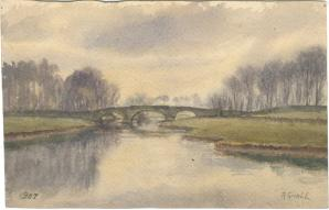 Watercolor of bridge (location unknown) Sivell 1907