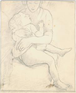 Mother with child, unsigned sketch